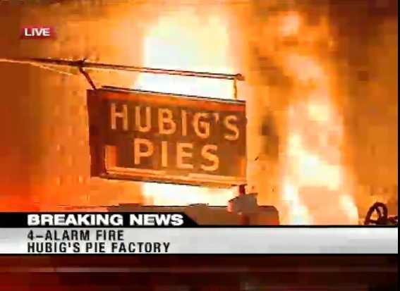The fire at Hubig's Pies escalated from four to five alarms shortly after this image was taken.