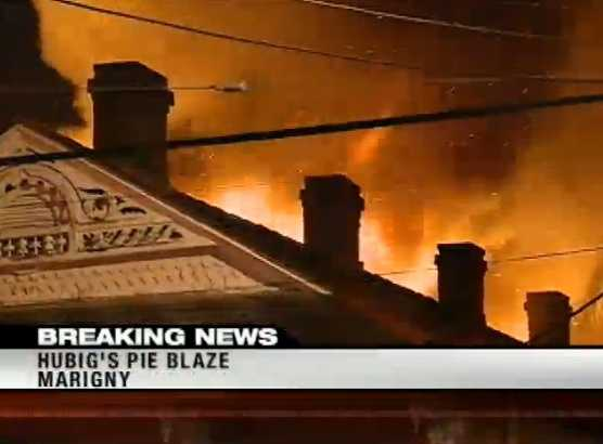The fire that consumed the Hubig's Pies factory began shortly before 5 a.m.