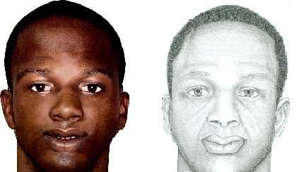 The sketch on the left is what police said the suspect looked like at the time of the crime. The sketch on the right shows the suspect aged by 15 years.