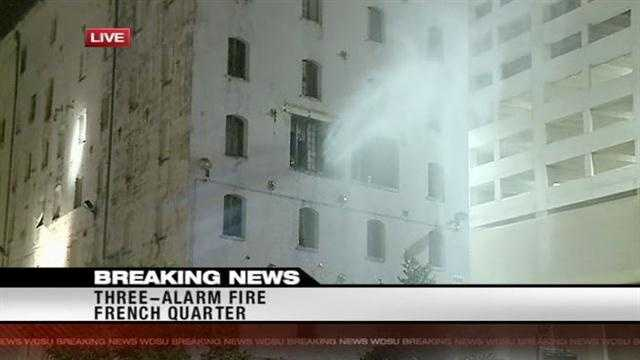 Firefighters respond to a three-alarm fire in the French Quarter Wednesday morning.
