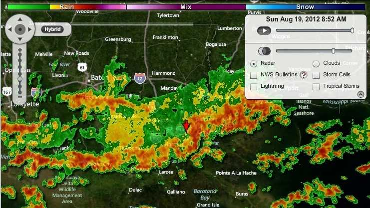 A band of storms moves across the New Orleans area in this radar image from Sunday morning.