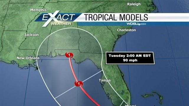 Tropical Storm Isaac continued to move towards the Gulf of Mexico