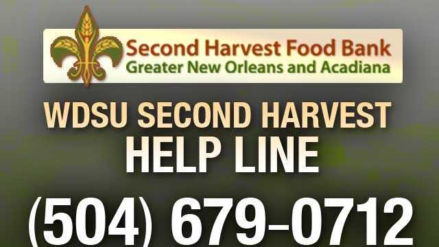 The WDSU Second Harvest Help Line will be taking your donations on Sunday from 8-10 a.m. and from 1-5:30 p.m.