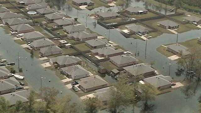 Local leaders get a bird's eye view of Louisiana's coastal damage following Isaac