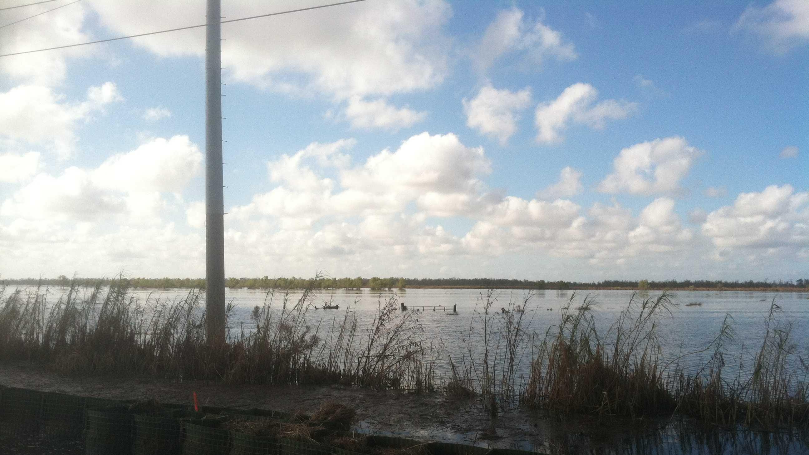 Flooding seen along Highway 23 a week after Hurricane Isaac