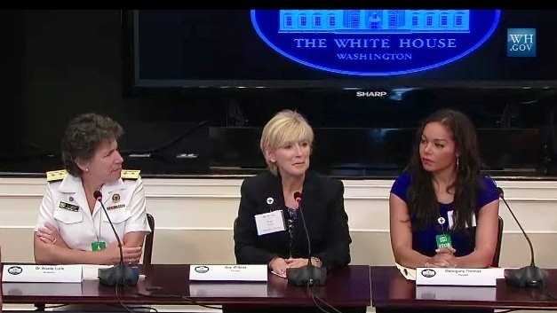 Kay Wilkins (center) participates in a panel discussion on emergency preparedness and response at the White House.