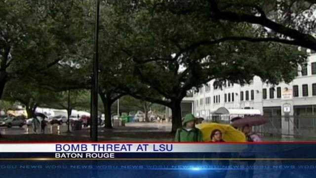 A bomb threat at LSU prompted the evacuation of 30,000 on Baton Rouge campus on Monday.