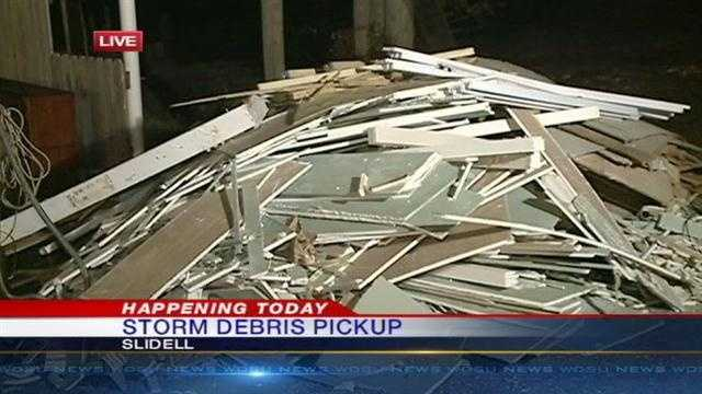 Slidell residents are being asked to separate storm debris for pickup along Monday's route.