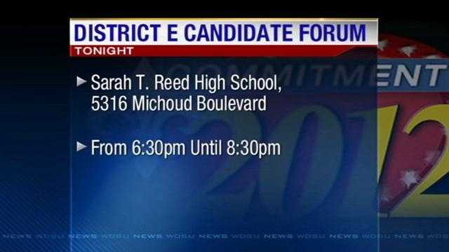 Candidates vying for the District E City Council seat will square off in a forum Thursday night.