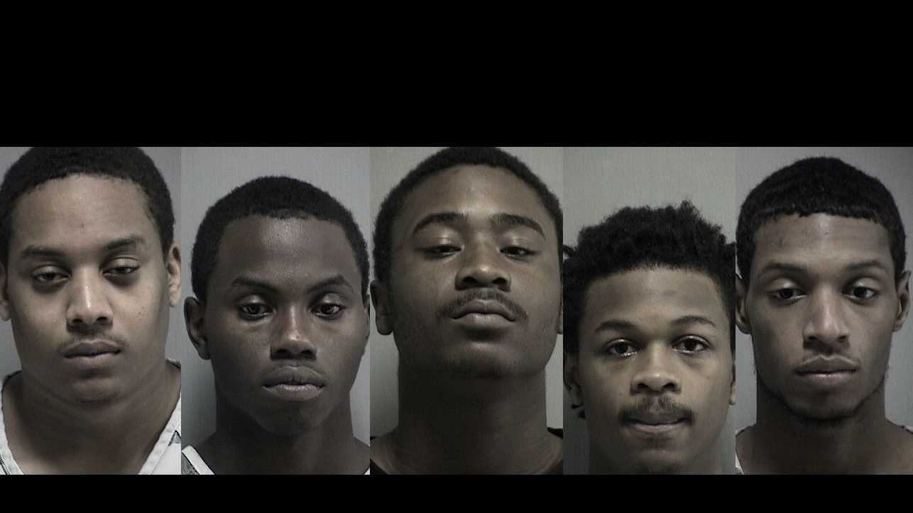 Arthur Allen, Carnell Massey Jr., Gillis Holmes, Raymond Joseph, Terrell Bellvie, 15-year-old Juvenile (Not pictured)