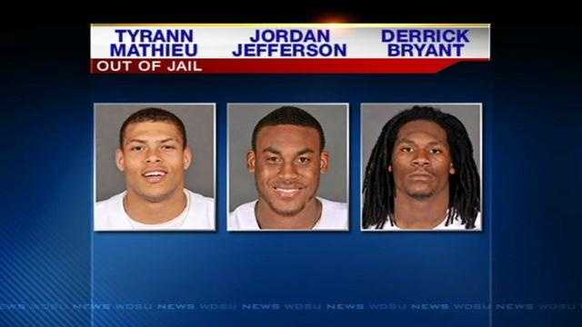 Three of the four former LSU players arrested on Thursday on drug charges were released Friday, authorities in Baton Rouge said.