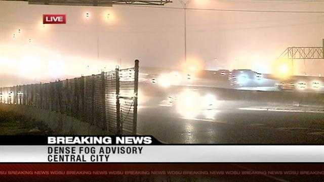 Dense fog moves in across the metro area
