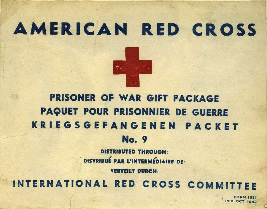 Label from a Red Cross aid package.