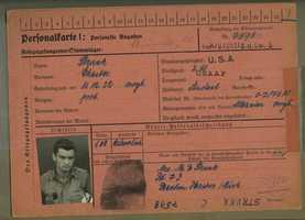 "POW identification card for Chester ""Chet"" Strunk."