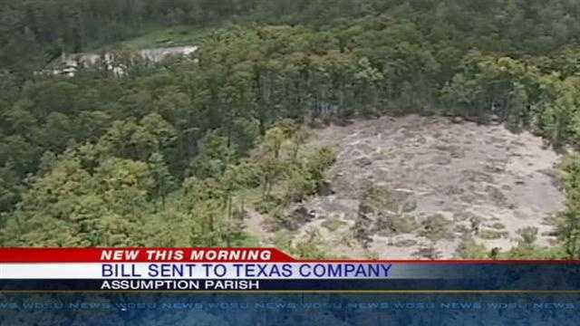 The state has sent a bill to the Texas Brine Company for expenses incured in relation to the sinkhole in Assumption Parish.