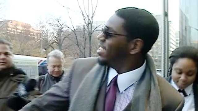 Saints linebacker Jonathan Vilma is greeted as he arrives at an attorney's office in Washington for hearings related to the NFL's bounty investigation.