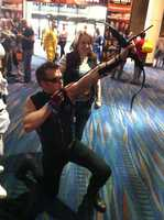 A fan dresses up as Hawkeye from the Avengers.