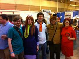 Fans dress up as characters of Scooby-Doo.