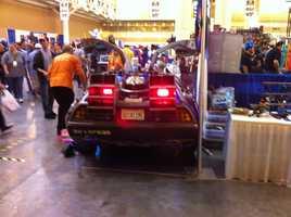 Rear view of the Back to the Future DeLorean.
