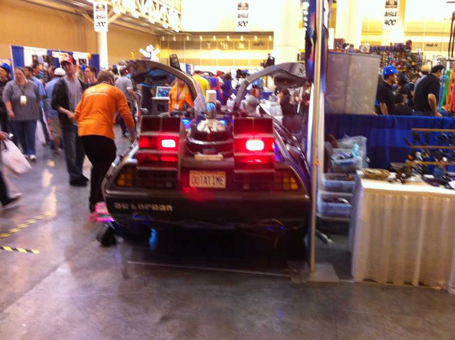 Rear view of the Back to the Future DeLorean.