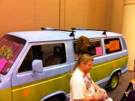 Revelers were welcome to get their picture taken in the Mystery Machine.