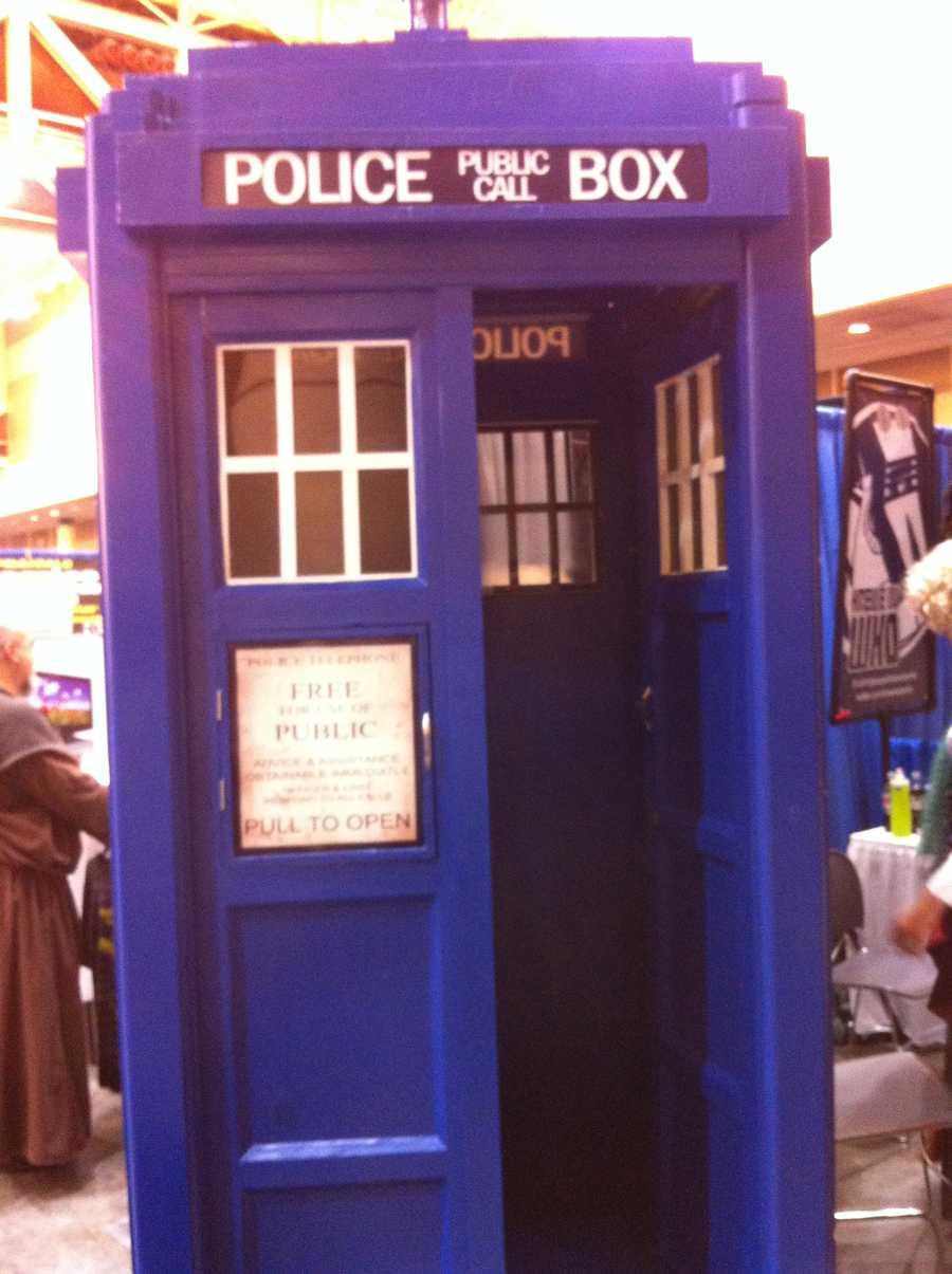 A replica of the Police Call Box from the Dr. Who series.