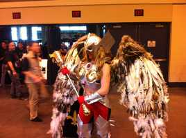 A fan dressed up as Hawkgirl from DC Comics.