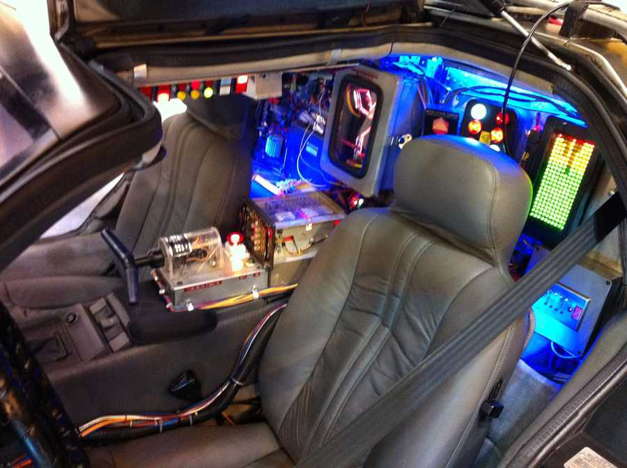 A peek inside of the Back to the Future DeLorean.