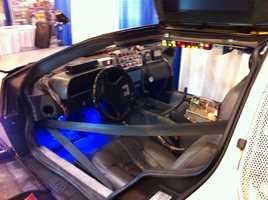 Dashboard view of the Back to the Future DeLorean.