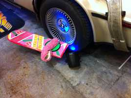 Fans could also pose on the Hoover Board from the Back to the Future series.