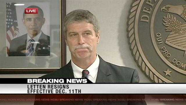 U.S. Attorney Jim Letten announces his resignation in a December news conference.