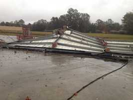 A possible tornado damaged the roof of a car wash Monday morning on La. Highway 19.