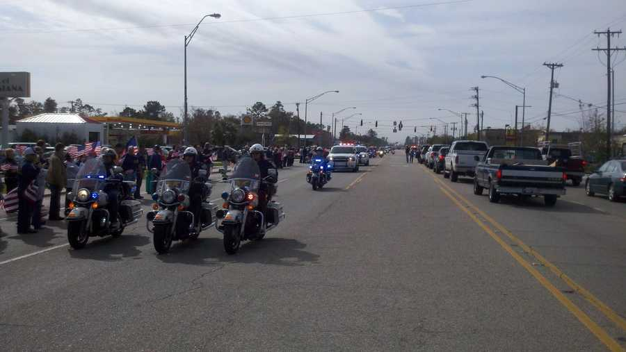 On Thursday, police and sheriff's deputies escorted his casket from Armstrong International Airport to a Slidell funeral home.