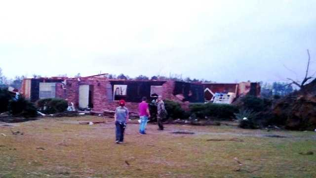 A home on Sones Chapel Road in Pearl River County sustained severe damage when a tornado and strong storms moved through. Damage was reported to several homes in the area of McNeill and Carriere.