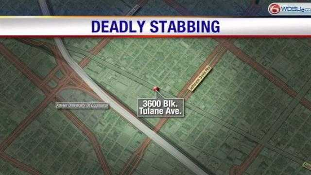 New Orleans police said an elderly man was stabbed to death inside his home at a senior living apartment complex.