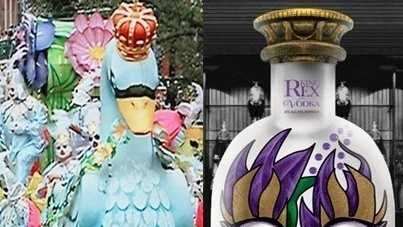 Left: Rex parades down St. Charles Ave. Right: King REX Spirits vodka