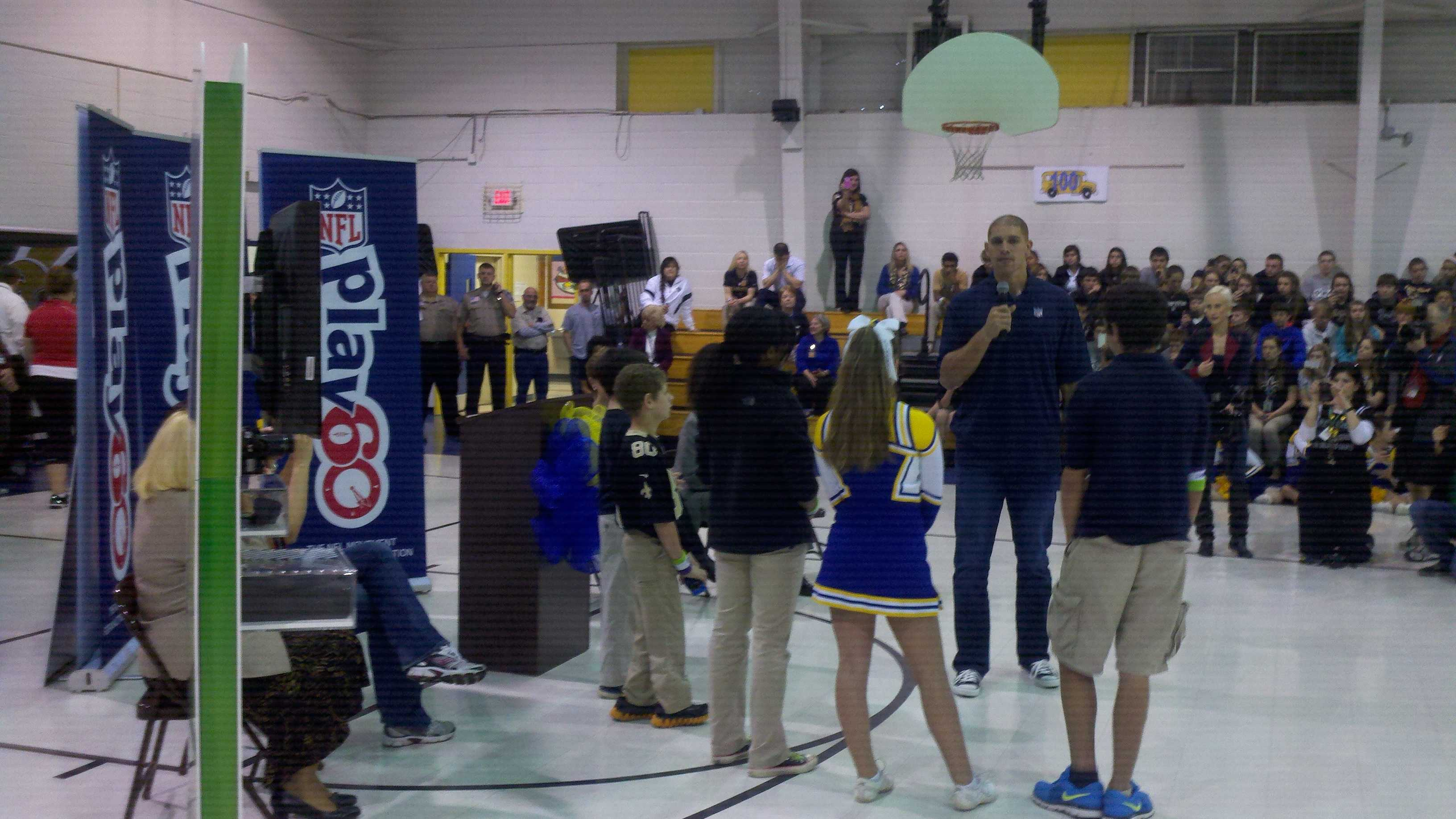 Jimmy Graham meets and greets with kids at Fifth Ward Junior High in Bush, LA for NFL Play 60 Super Bowl Challenge Event.