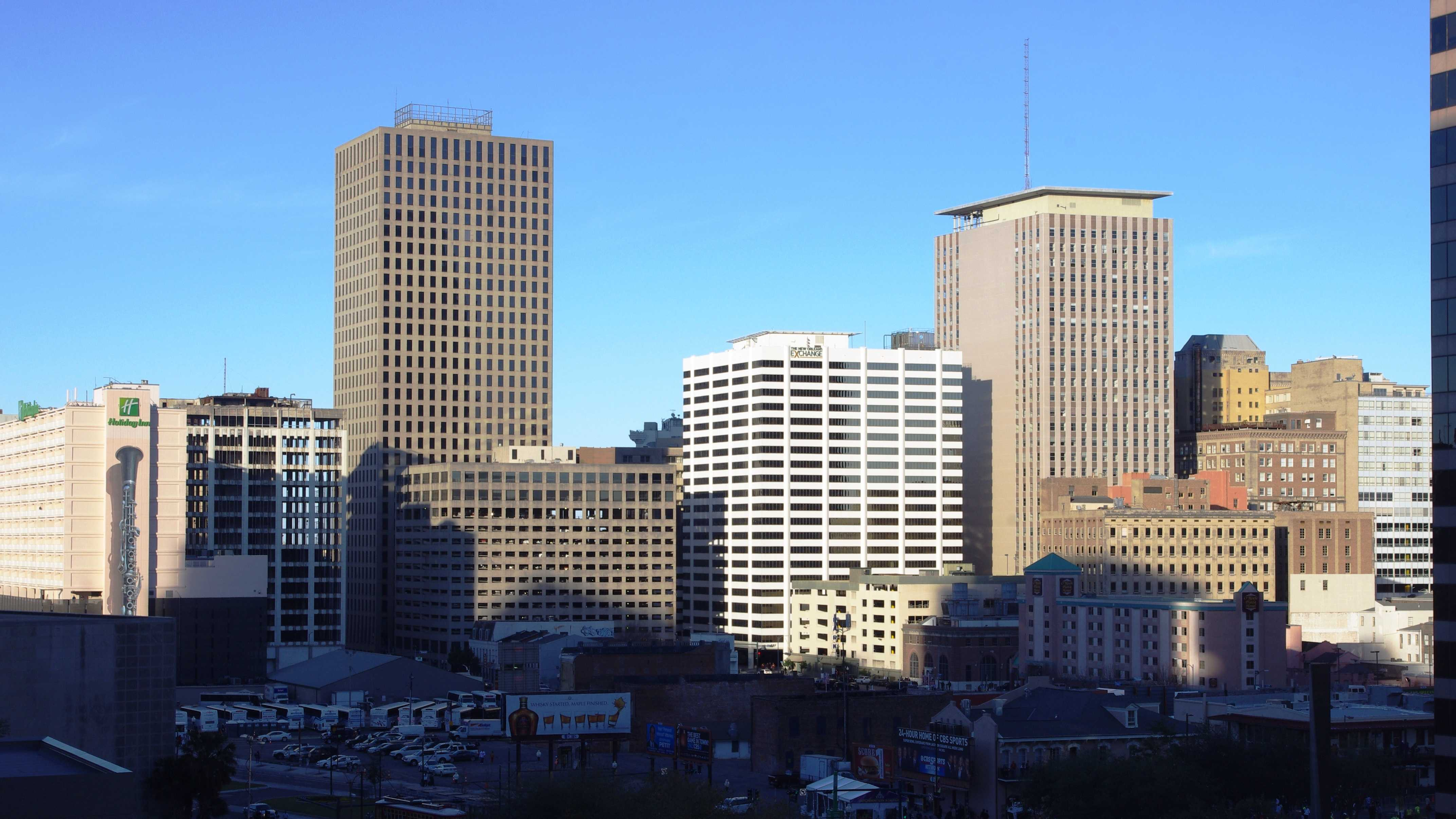 Shadows fall on downtown New Orleans