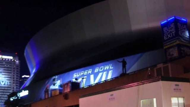 A partially-darkened Mercedes-Benz Superdome, as photographed during a power outage that stalled Super Bowl XLVII.