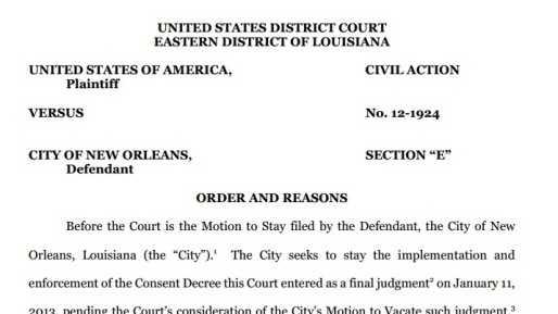 Judge denies stay of Consent Decree