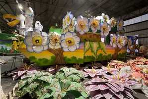 The finished props are then placed on the floats, which artists also cover with ornate flowers and gold leaf.