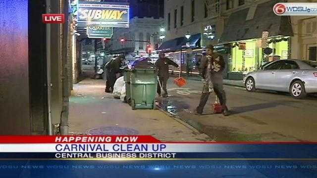 Clean up crews will work into the coming days to remove trash and garbage from around the city following Carnival