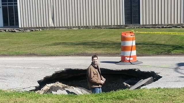 A sinkhole spanning at least 10 feet has swallowed up a piece of road in the 4000 block of Michoud Blvd.