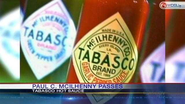 Tabasco head Paul C. McIlhenny dies at the age of 68.