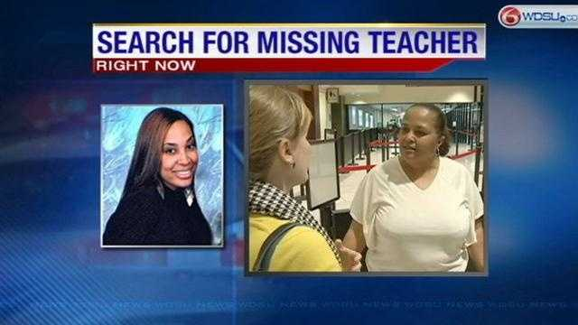 The mother of a missing New Orleans teacher arrived at Louis Armstrong International Airport to help in the search.