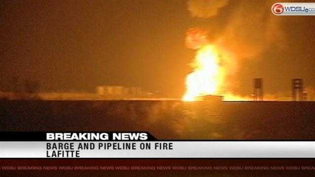 Jefferson Parish leaders say a tugboat caught fire and the blaze spread to a nearby pipeline.