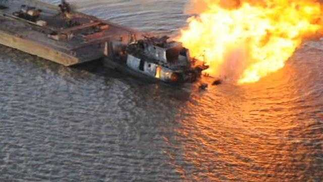 Raw Video: Tug boat fire
