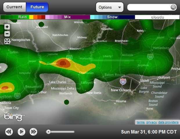6 p.m. forecasted radar