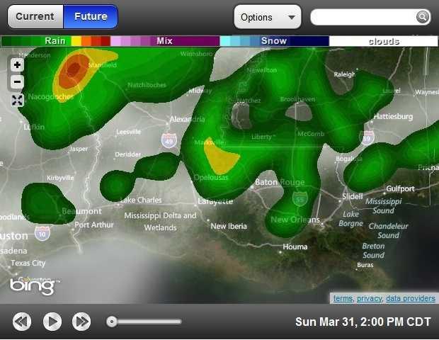 2 p.m. forecasted radar