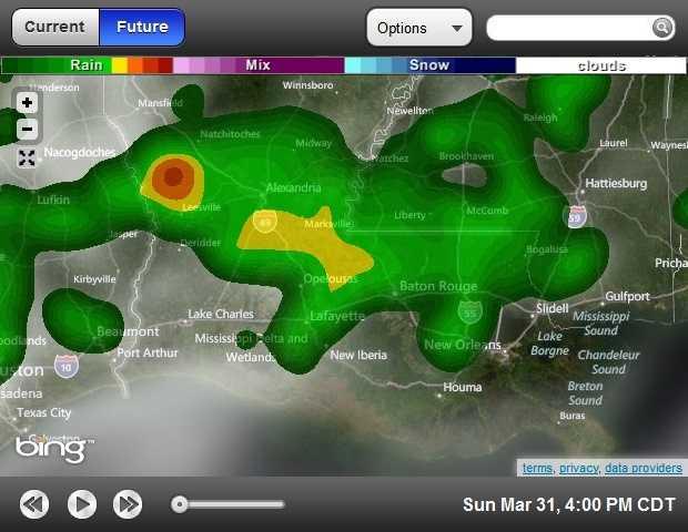 4 p.m. forecasted radar